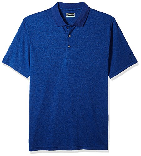Technical Short Sleeve Polo Shirt - PGA TOUR Men's Big and Tall Short Sleeve Driflux Heather Polo, Olympian/Grey Heather, 3XLT