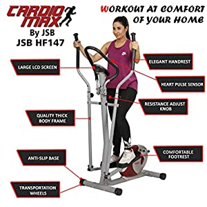 Cardio Max JSB HF147 Cross Trainer Elliptical Workout Machine Magnetic Fitness Bike Exercise Cycle
