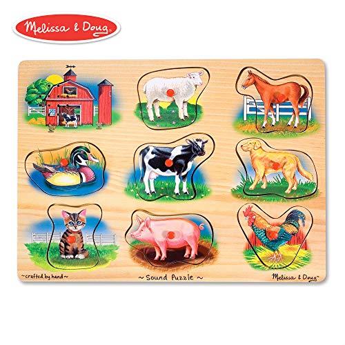 (Melissa & Doug Farm Sound Puzzle - Wooden Peg Puzzle With Sound Effects (8 pcs))