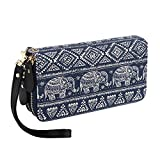 Bohemian Purse Wallet Canvas Elephant Pattern Handbag with Coin Pocket and Strap (Large, Elephant)