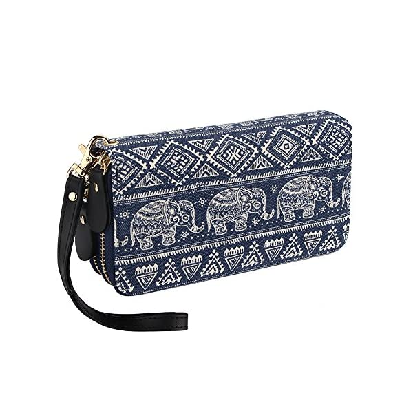 Womens Bohemian Purse Wallet Canvas Elephant Pattern Handbag with Coin Pocket and Strap