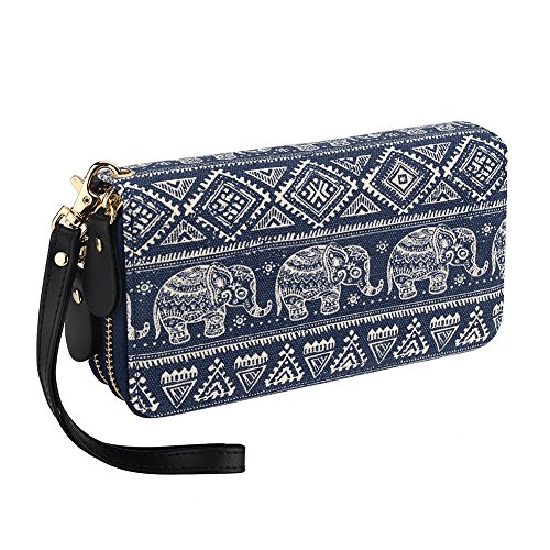 Bohemian Purse Wallet Canvas Elephant Pattern Handbag with Coin Pocket and Strap (Large, (Big Wallet)