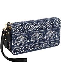 Bohemia Purse Wallet Canvas elefante Patrón Bolso con bolsillo para monedas y correa