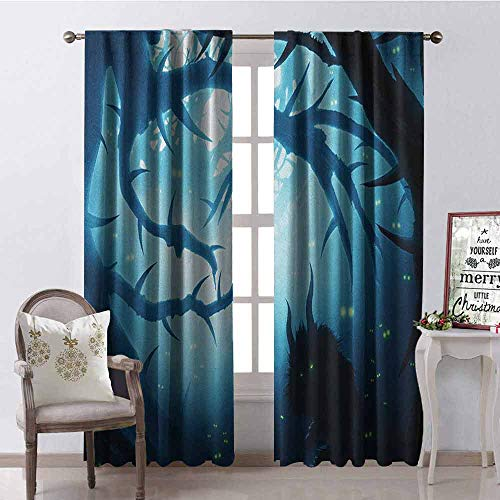 GloriaJohnson Mystic 99% Blackout Curtains Animal with Burning Eyes in The Dark Forest at Night Horror Halloween Illustration for Bedroom- Kindergarten- Living Room W52 x L95 Inch Navy White]()
