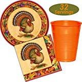 Thanksgiving Turkey Plates, Napkins and Orange Plastic Cups - 32 Sets - Harvest Theme, Ivory, Burgundy, and Other Fall Colors
