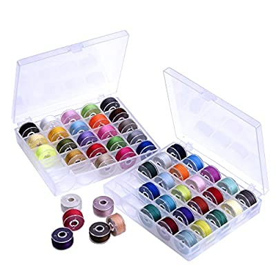 Outus Prewound Thread Bobbins with Bobbin Box for Brother/ Babylock/ Janome/ Elna/ Singer, Assorted Colors, 50 Pieces by Outus