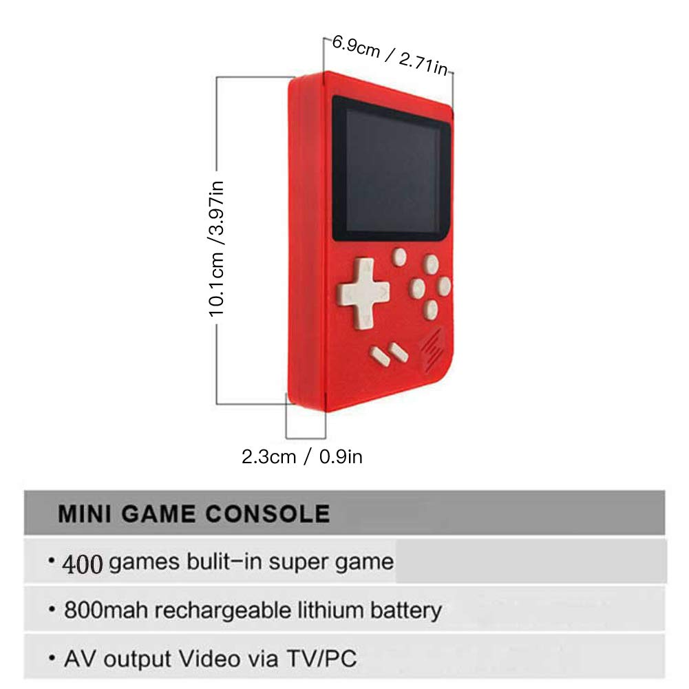 RoJuicy Mini Handheld Game Console, Retro FC Game Console, Video Game Console with 3 Inch Color Screen 400 Classic Games Support TV Video Game Player tick for Birthday Presents by RoJuicy (Image #7)
