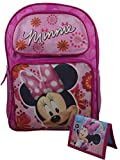 """Disney Minnie Mouse Deluxe Girl's 16"""" School Backpack Travel Bag w/ Bonus Minnie Mouse Wallet"""