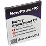 Battery Replacement Kit for Garmin Nuvi 2558 with Installation Video, Tools, and Extended Life Battery.