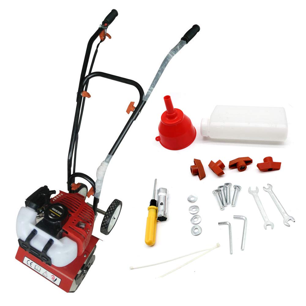 Wanlecy Upgarded Mini Garden Tiller Cultivator, 12'' Wide Gas Powered 2HP 2 Stroke 52cc Engine Garden Yard Tilling Soil Tools