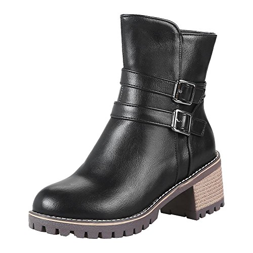 Mee Shoes Damen chunky heels Reißverschluss gefüttert Stiefeletten Schwarz
