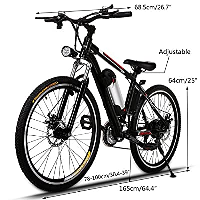 "Electric Mountain Bike, JQstar 25"" Aluminum 21 Speed Power Plus Ebike with Lithium-Ion Battery"