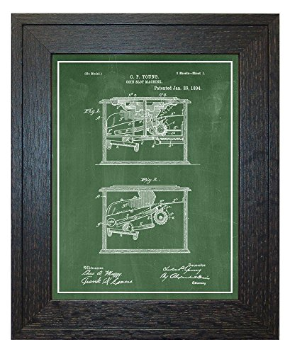 """Coin Slot Machine Patent Art Green Chalkboard Print with a Border in a Rustic Oak Wood Frame (24"""" x 36"""") M13976"""
