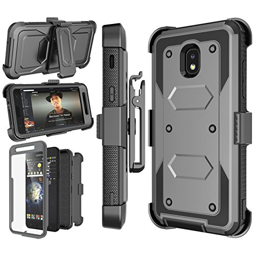 Njjex Case Compatible with Samsung Galaxy J7 Refine/J7 2018/J7 Star/J7 V 2nd/J7 Aura/J7 Top/J7 Crown/J7 Eon/J7 Aero, [Nbeck] Built-in Screen Protector Swivel Holster Belt Clip Kickstand Cover - Grey