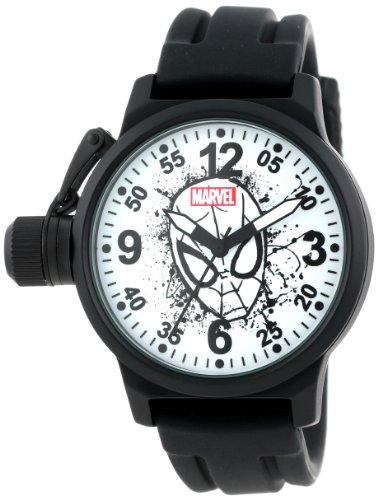 Marvel Men's W001050 Crown Protector Spider-Man Black Rubber Strap Watch