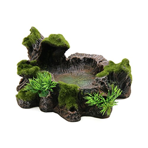uxcell Resin Lifelike Tree Trunk Designed Water Dish Corner Bowl Terrarium Decor for Reptiles (Corner Water Dish Rock)