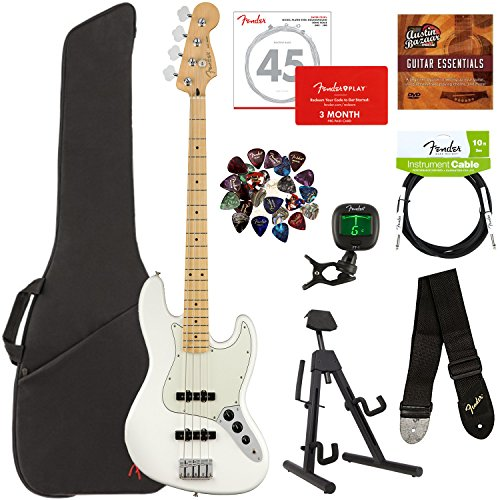 Fender Player Jazz Bass, Maple - Polar White Bundle with Gig Bag, Stand, Cable, Tuner, Strap, Strings, Picks, Fender Play Online Lessons, and Austin Bazaar Instructional DVD