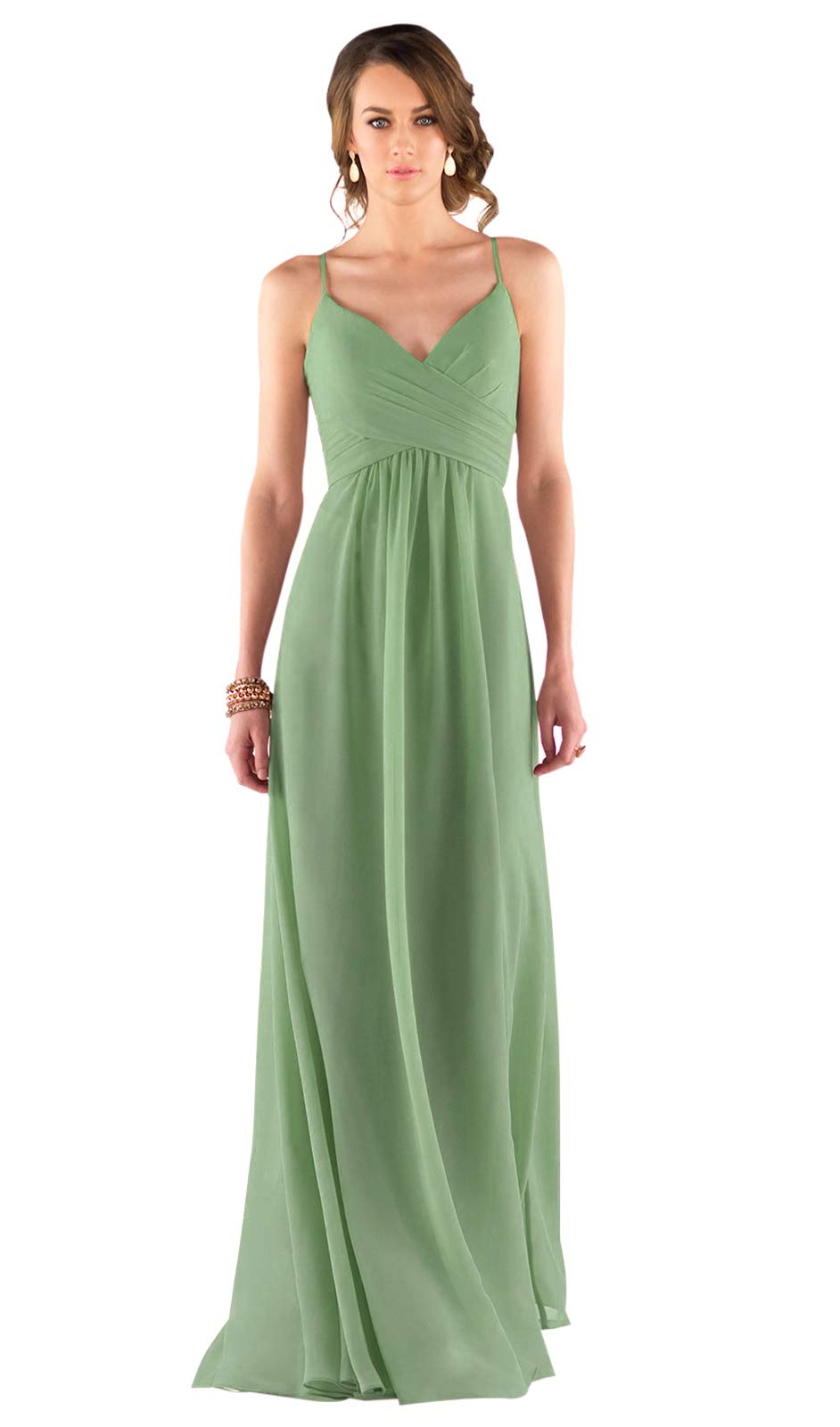 0644558a82 Zhongde Women's Spaghetti Strap V Neck Draped Chiffon Bridesmaid Dresses  Long Prom Dress Sage Green Size 8