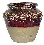 Red Glazed Terra Cotta Floral Pot
