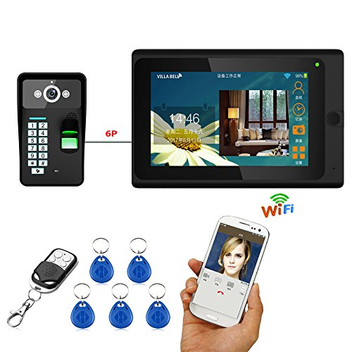 MAOTEWANG 7inch Wired / Wireless Wifi Fingerprint RFID Password Video Door Phone Doorbell Intercom Entry System with 1000TVL Wired Camera Night Vision,Support Remote APP unlocking,Recording,Snapshot