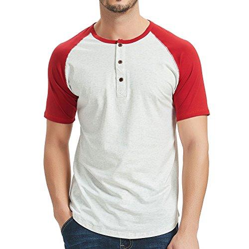 Moomphya Men's Casual Slim Fit Short Sleeve Henley T-Shirts Raglan Jersey Baseball Cotton ()