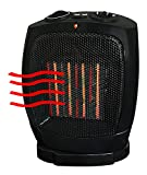 #1 Heater Ceramic Oscillating Black Adjustable Thermostat Heat Warmer - Safety Tipover Switch