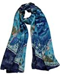 Image of Dahlia Women's 100% Luxury Long Silk Scarf - Art Collection