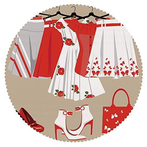 iPrint Mildew Resistant Round Tablecloth [ Heels and Dresses,Summer Young Womens Clothing on Hangers Handbag Shoes Feminine Wardrobe Decorative,Multicolor ] Fabric Home Tablecloth Design