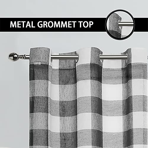 Buffalo Plaid Checkered Black and White Line Sheer Geometric Window Curtain Panels 95 Inches Long, Gingham Grommet Top Treatment, for Bedroom & Living Room (2 Panels, 40