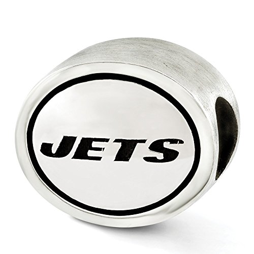 Jewelry Beads Themed Sterling Silver Antiqued New York Jets NFL Bead