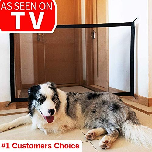 Magic Gate for Dogs Magic Gate Portable Folding mesh gate Guard Pet Safety Gate Safety Enclosure,Safe Guard for Pet,Baby Safety Fence,As Seen On TV ()