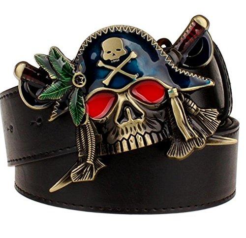 Mens Fashion Decorative Belt Pirate Buckle Belt Waistband,115cm/45.3