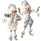 "RAZ Imports 16"" Silver & White Posable Elves"