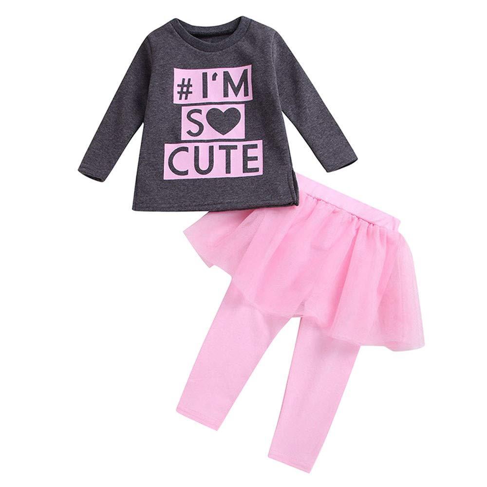 sunnymi Bekleidungssets f/ür Baby M/ädchen,0-4 Jahre 2Pcs Infant Baby Girls Langarm Solid Tops Denim Shorts Kleidung Outfits Set
