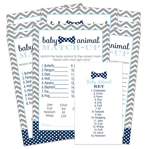 Bow Tie Baby Animal Match Party Game - Set of 25