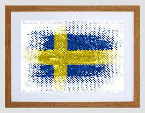 Swedish Flag Framed (SWEDISH FLAG SWEDEN GRUNGE ILLUSTRATION BLACK FRAMED ART PRINT PICTURE B12X8900)