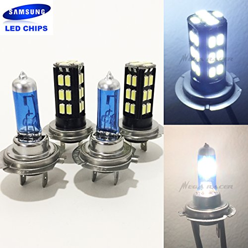 2 Pair H7 White 100W Halogen H7 Bright Chip 30 LED Xenon Light Lamp Headlight Bulb (High/Low Beam) Hi/Lo Stock Replace
