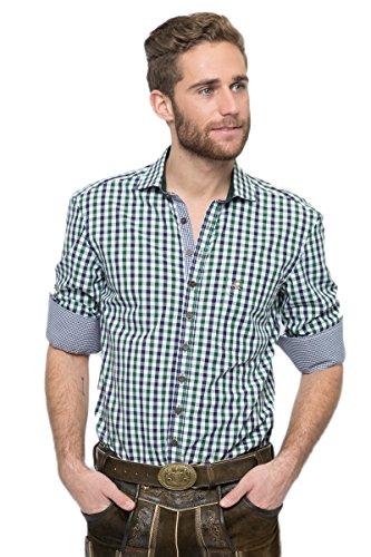 OS-Trachten Herren Trachtenhemd Emanuel blau/grün H040072 42