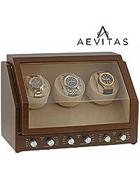 Brand New Watch Winder for 3 Watch Natural Walnut Wood Finish with Beige Velvet interior Premier Range by Aevitas