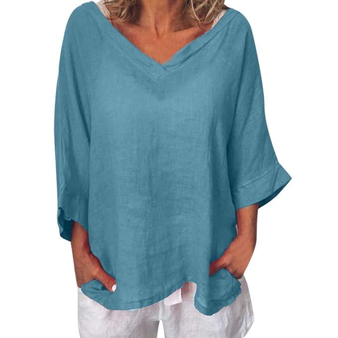 Damen Baumwolle Leinen 3//4 Arm Tops Bluse Vintage Sommer Übergröße Hemd Oberteil