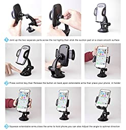 Phone Holders, Quntis Car Mount Holders CellPhone Cradles 360 Adjustable Dash and Windshield GPS Holder for iPhone Samsung Galaxy HTC Moto One Plus and More Android Smartphones