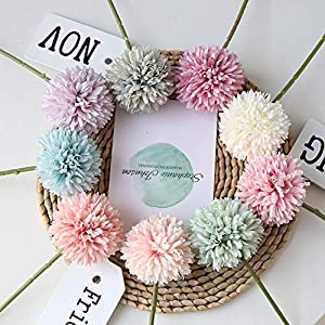 Homyu Artificial Chrysanthemum Ball Flowers Bouquet 10pcs Present for Important People Glorious Moral for Home Office Coffee House Parties and Wedding 3