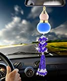 Angela_max Car Ornament Home Decoration Crystal Glass Gourd Perfume Bottle Automotive Rearview Mirror Blessing Safe Journey Symbol Tassel Beads Perfume Car Interior Pendant (blue)-perfume not in