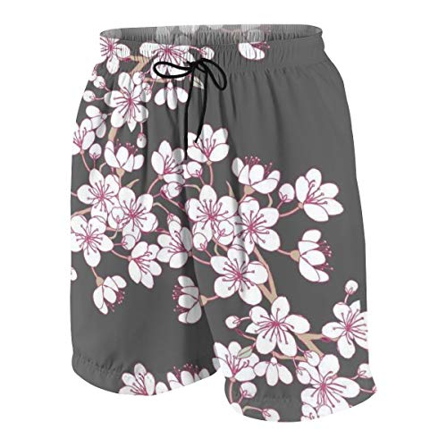 Summer Little Big Boys Novelty Quick Dry Beach Board Shorts Kids Swim Trunk Swimsuit Beach Shorts with Mesh Lining 10-12 Years - Cherry Blossom