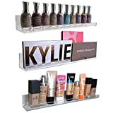 Acrylic Wall Mount Cosmetics Organizer: Makeup Palette Holder & Nail Polish Rack. Strong, Multi-Purpose, Space-Saving 3 Shelf Set. (15 inch x 1.5 inch) Premium Quality Acrylic Shelves (3)