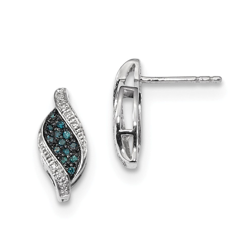 Sterling Silver Blue Diamond Marquise Post Earrings