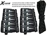 550 cord bracelet fire starter - X-CORDS Paracord Fire Starter Buckle Flint Buckle Whistle Buckle Combo Fits all Paracord 550 750 and 850 Cord Make Your Own Paracord Bracelet (10 Fire Starter Buckles)