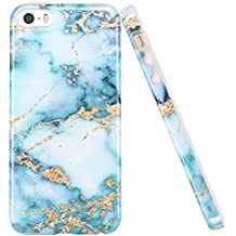 iPhone 5 5S Case, LUOLNH Aquamarine and gold Marble Design Slim Shockproof Flexible Soft Silicone Rubber TPU Bumper Cover Skin Case for iPhone 5 5S SE