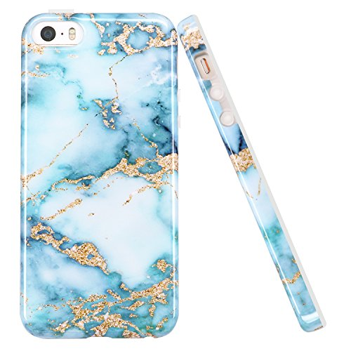 luolnh iPhone 5 5S Case, Aquamarine and gold Marble Design Slim Shockproof Flexible Soft Silicone Rubber TPU Bumper Cover Skin Case for iPhone 5 5S SE