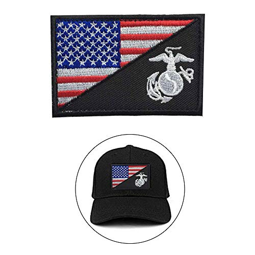 (LONLEAP American Flag Patch Embroidered Patch USMC Uniform Insignia Badge USA Flag Patch Tactical Military Morale Patch Set, red-Black)